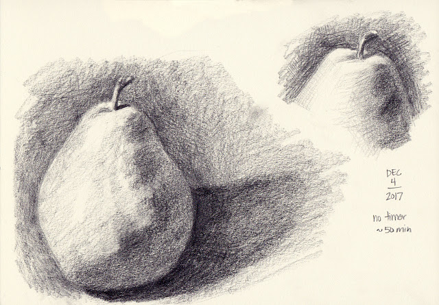 Daily Art 12-4-17 still life sketch in graphite number 52-53 - pear