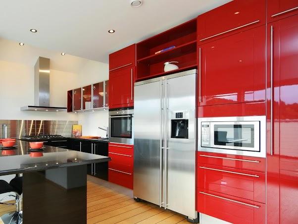 Desain Dapur Modern Nuansa Merah 01