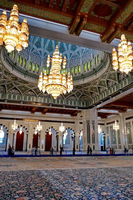 Sultan, Qabus, Moschee, Muscat, Oman, Teppich, Leuchter, Kuppel, gross