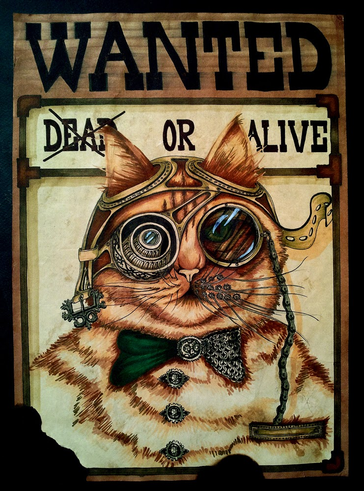 11-Cat-Wanted-Poster-Paula-Duță-Drawing-Animals-Steampunk-Clothing-www-designstack-co