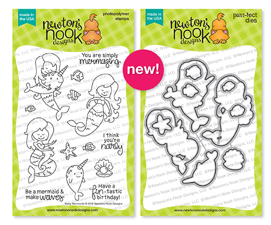 Narly Mermaids Stamp and Die Sets by Newton's Nook Designs #newtonsnook