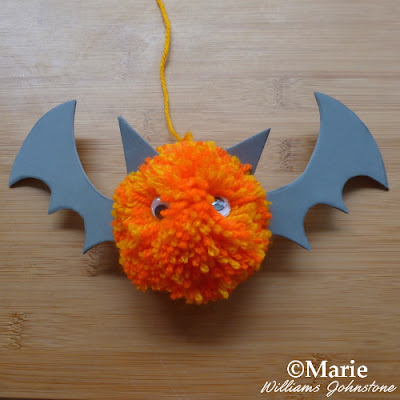 bat pom pom craft for halloween