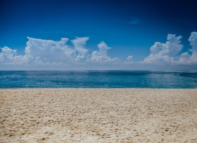 Ocean View  Blue Sky With White Clouds HD Wallpaper