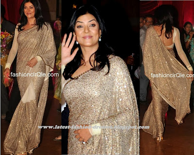 susmitha sen in Gold saree with full sleeve blouse