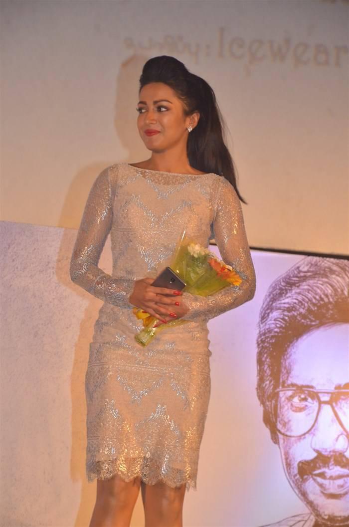 Actress Catherine Tresa Stills In Mini Yellow Dress At  Movie Audio Launch