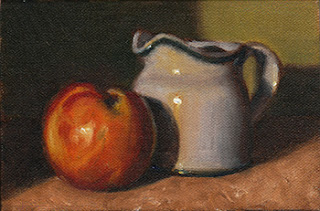 Oil painting of a nectarine beside a small white porcelain milk jug.