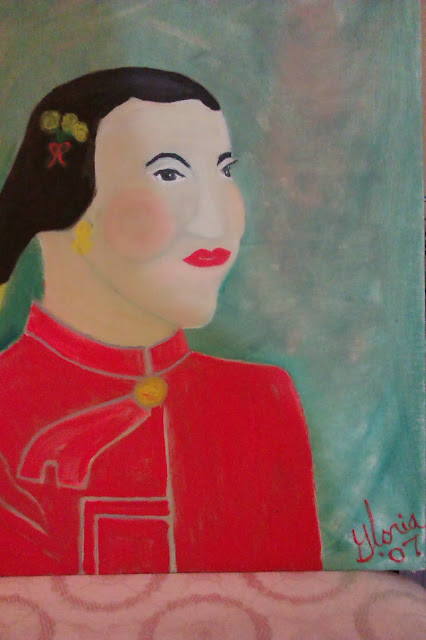 Mandarin Orange Lady for ethnic series of paintings ; painted by Gloria Poole