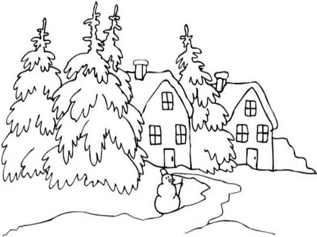 paisaje nevado con árboles  cubiertos de nieve, para colorear