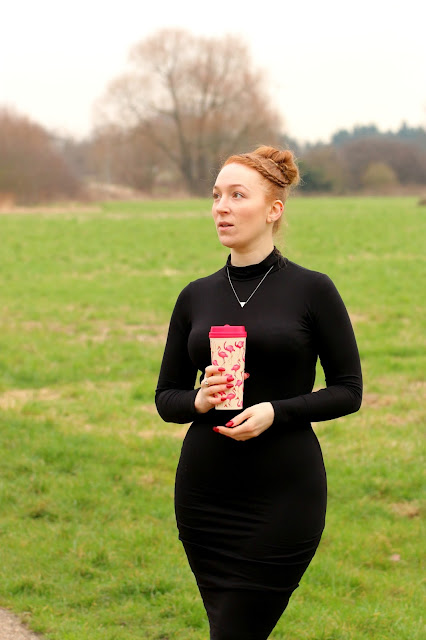reusable cups, black midi dress, pretty little thing, eco friendly, reduce waste,