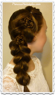 Gorgeous Homecoming hairstyle. Pull through braid on the side with rosette accents. Video tutorial.