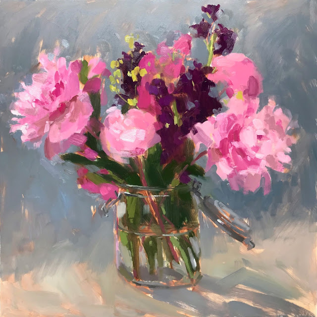 #346 'Peonies & Stocks' 24×24″