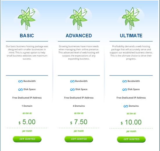 Hostwinds Pricing, Pricing of Business Hosting