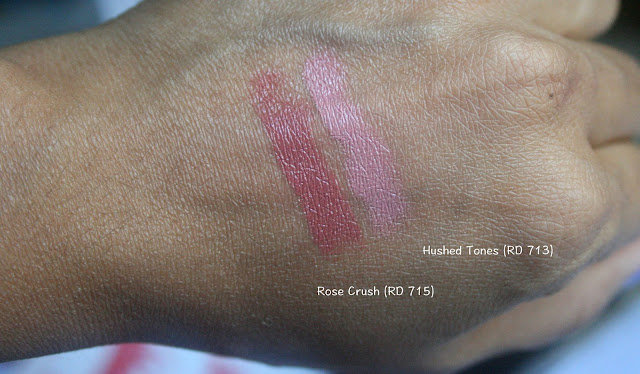 Shiseido Rouge Rouge Lipstick in Hushed Tones RD 713 and Rose Crush RD715 Review, Photos, Swatches