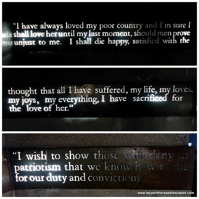 words by rizal at fort Santiago