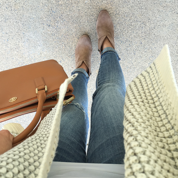 casual Fall outfit, Nordstrom Junior Women's Rip Curl Shambala Open Front Cardigan, STS blue cropped boyfriend jeans, Tory Burch mini Robinson bag in luggage, Vince Camuto franell western ankle booties