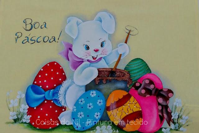pintura em tecido coelha pintando ovos de pascoa