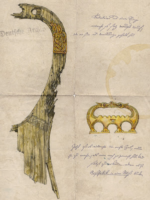 The Lyre of Lejre drawing showing dentition damage.