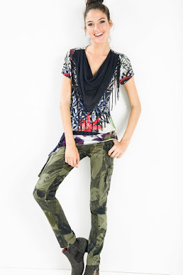 ab0389171486 MODA : ROPA - DESIGUAL 59T24B7 Camiseta Gabi Camiseta Manga corta con  flecos | Mujer NUEVA
