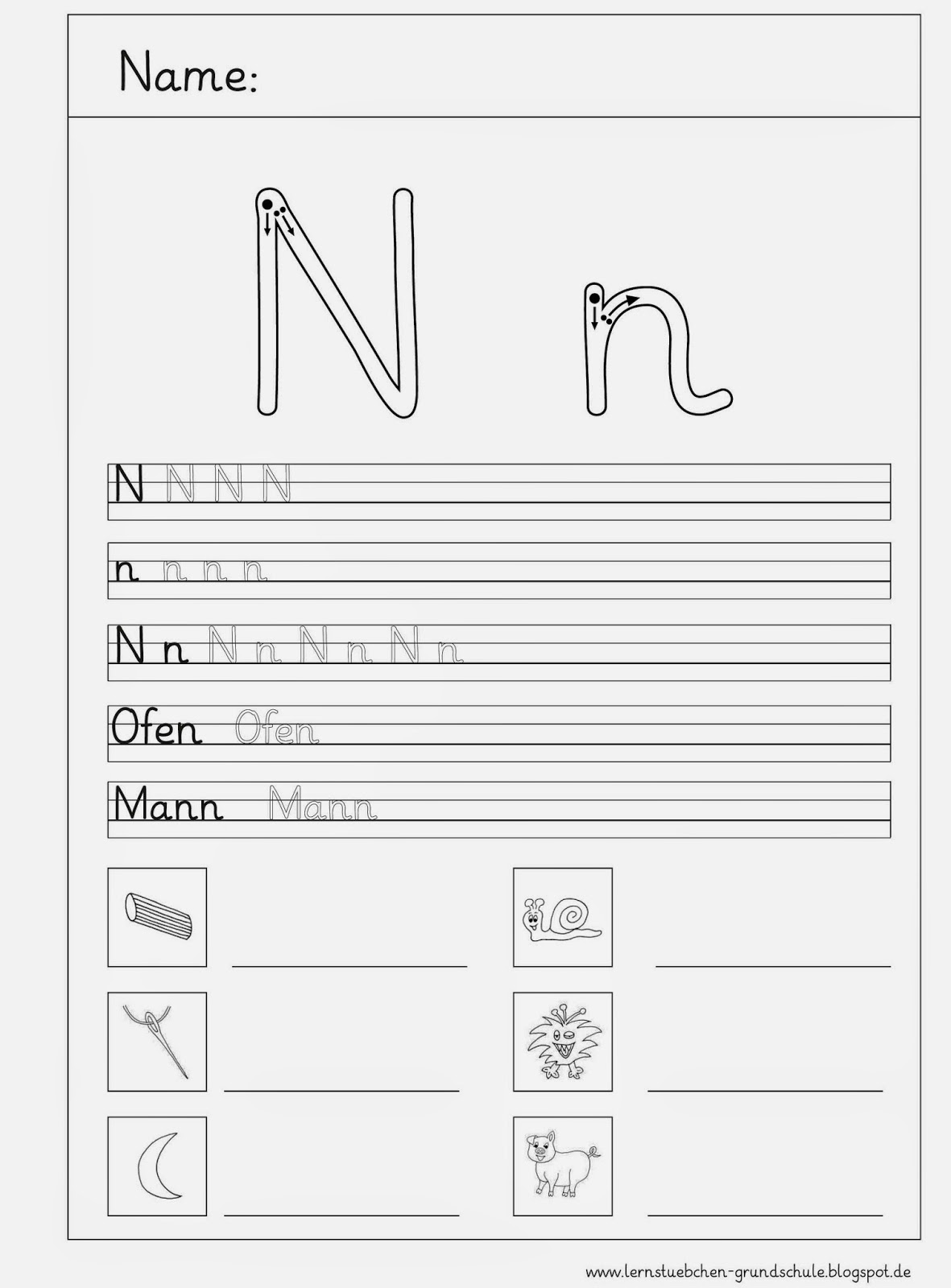 Arbeitsblätter Buchstabe S : Lernstübchen schreibblätter zum n