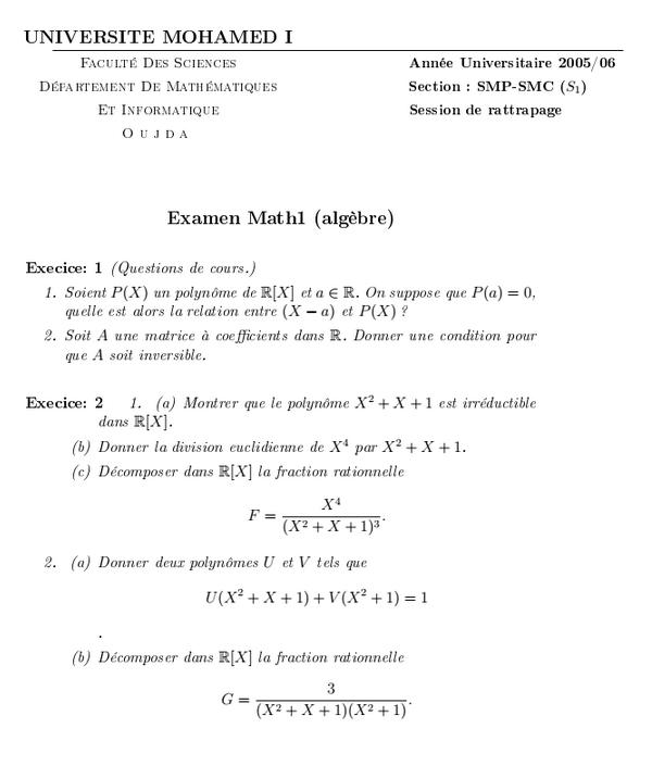 Examen Algèbre 1 SMPC Session de Rattrapage 05-06 FSO