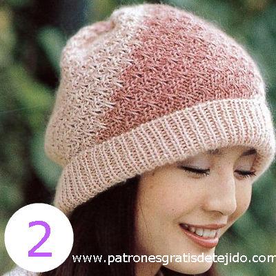 patron de gorro rosa tejido con dos agujas