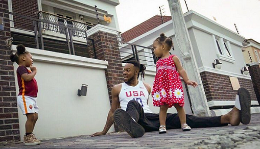 Star Singer Flavour and his two beautiful daughters