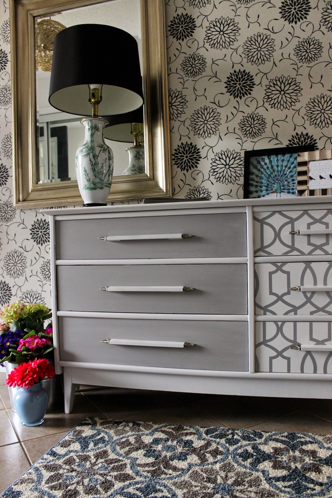 http://re-tiqued.blogspot.ca/2015/04/wallpaper-and-gray-dresser.html