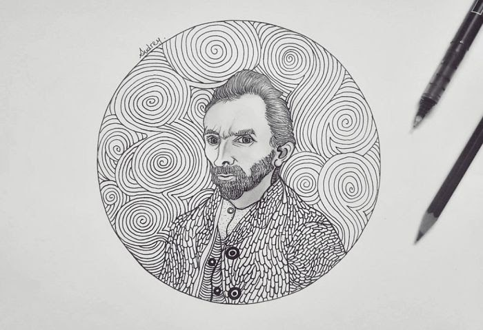 05-Van-Gogh-Self-Portrait-Poonam-Saha-Zentangle-Old-Masters-and-Works-of-Art-Drawings-www-designstack-co