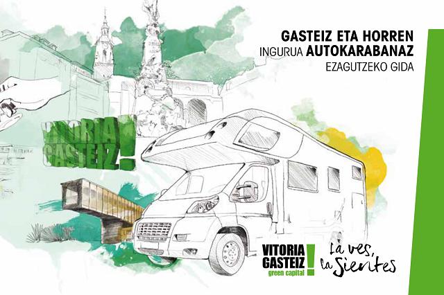 Portada del folletó autocaravanista de Vitoria-Gasteiz
