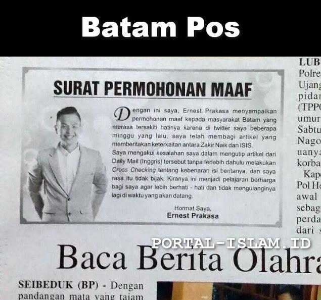 Dampak Fitnah Ulama, Demi Bisa Tampil di Batam Ernest Prakasa Minta Maaf di Koran