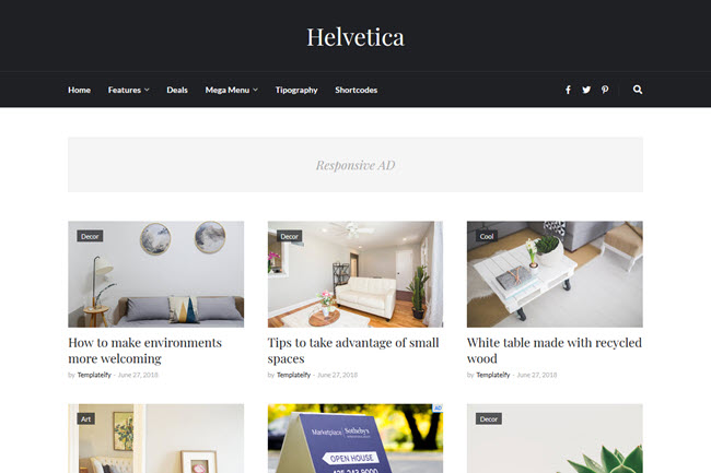 Helvetica - Responsive Clean Blogger Template