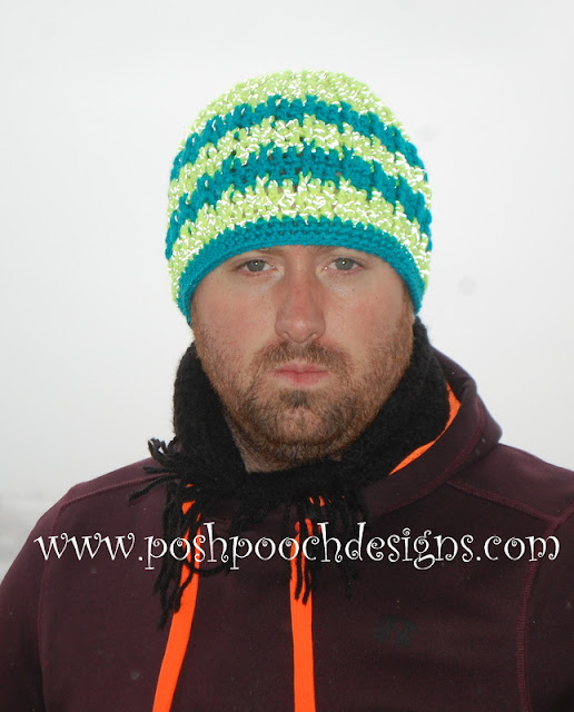 Reflective Front Post Beanie Free Crochet Pattern