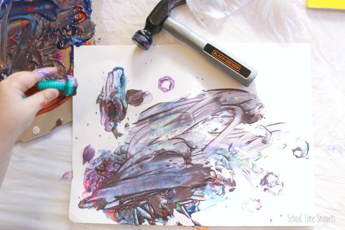 Preschool process art with tools
