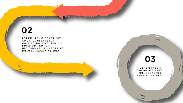 Circular Brush Stroke and Arrow Infographic Free PowerPoint Template Detail View
