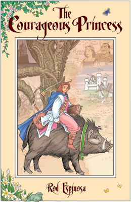 cover of 'The Courageous Princess' showing a young lady riding a warthog