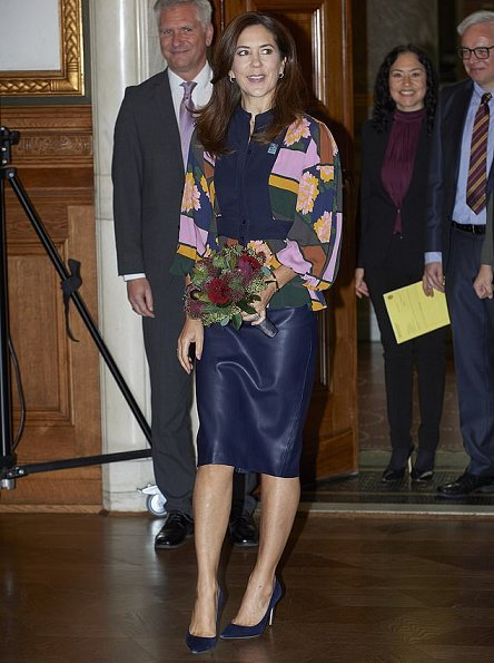 Crown-Princess Mary wore Massimo Dutti coat,and Roksanda paneled jacquard blouse. Mads Z Jewellery gold ring and earrings