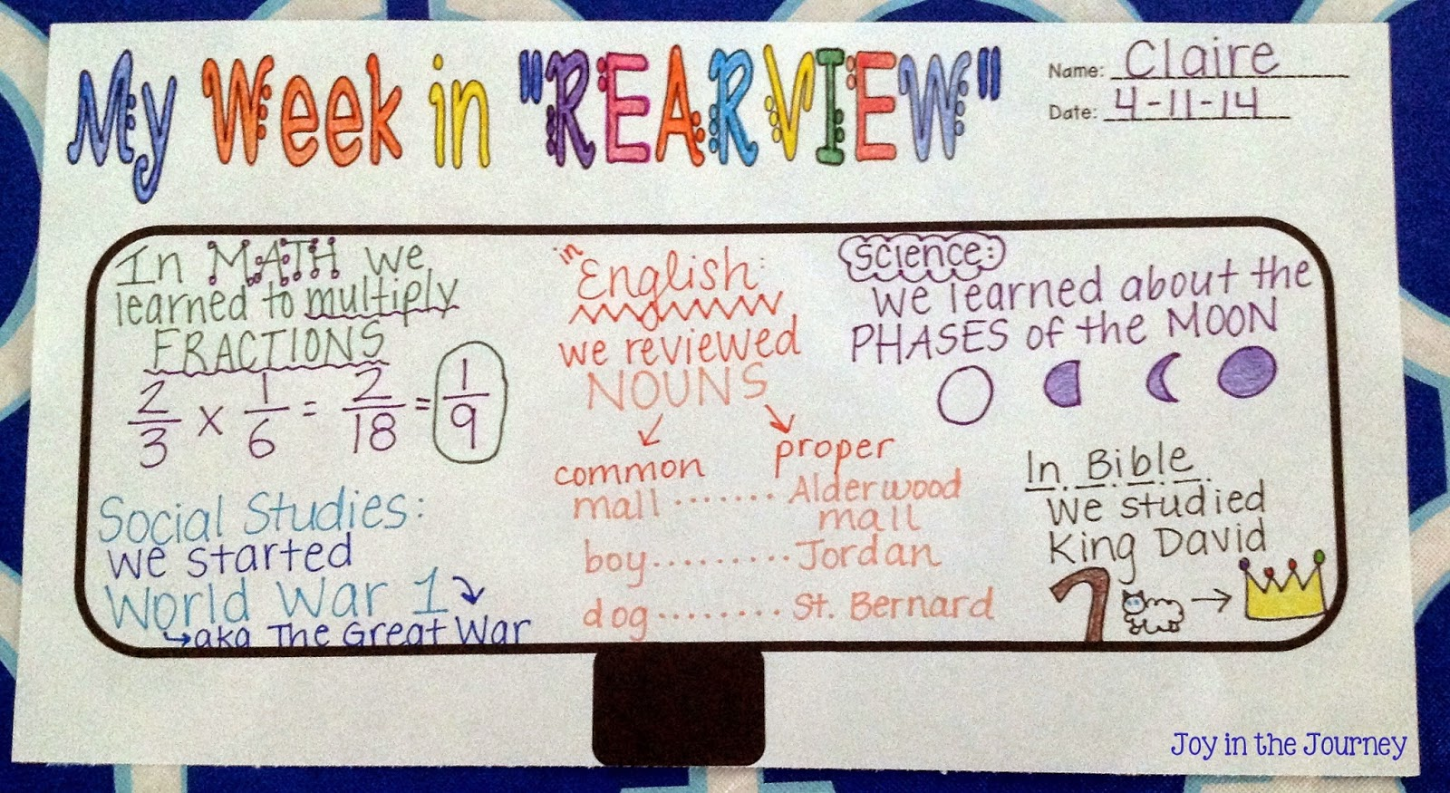 Fifth Grade Freebies Free Reflection Tool My Week In Rearview