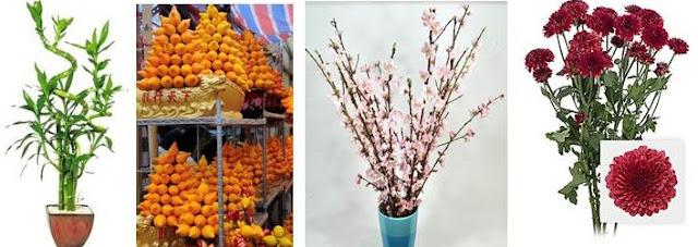 Bamboo, Mandarin, Peach blossom, Chrysanthemum CNY
