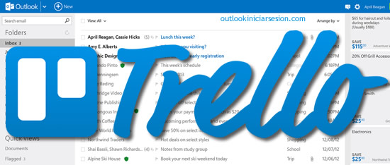 Outlook.com en tareas de Trello