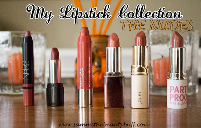 My Lipstick Collection: The Nudes: NARS Satin Lip Pencil in Rikugien, MAKE UP FOR EVER Rouge Artist Natural Lipstick in N9, CLINIQUE Chubby Stick Moisturizing Color Balm in Melon, NICKA K Hydro Lipstick in Concerto, JOUER Hydrating Lipstick in Doris, MODEL CO Party Proof Lipstick (Cream) in Dusk Til Dawn swatches