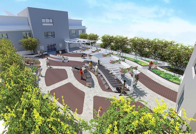 Vườn thượng uyển trên tầng mái với cafe city view