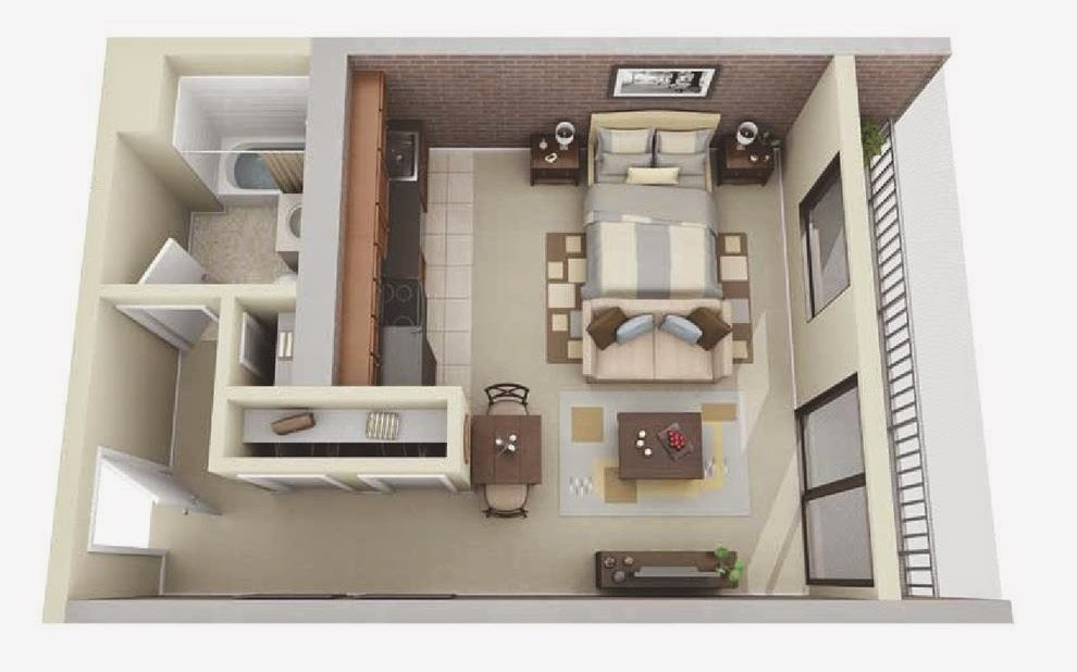 Awesome Small Studio Apartment Floor Plans Ideas