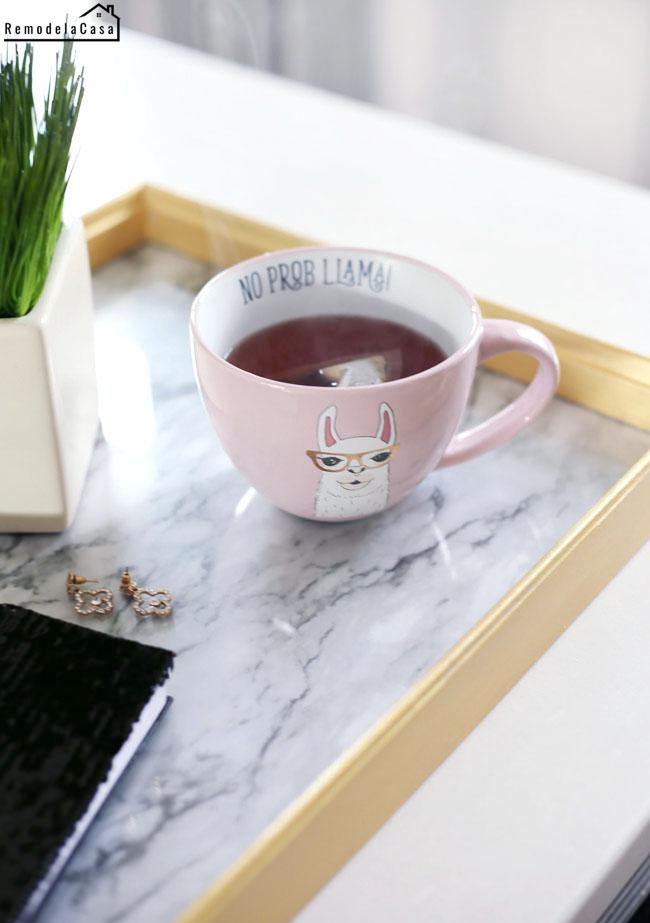 No prob llama pink mug on tray