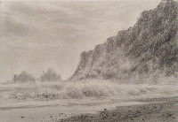 Pencil drawing of a seascape in sketch book