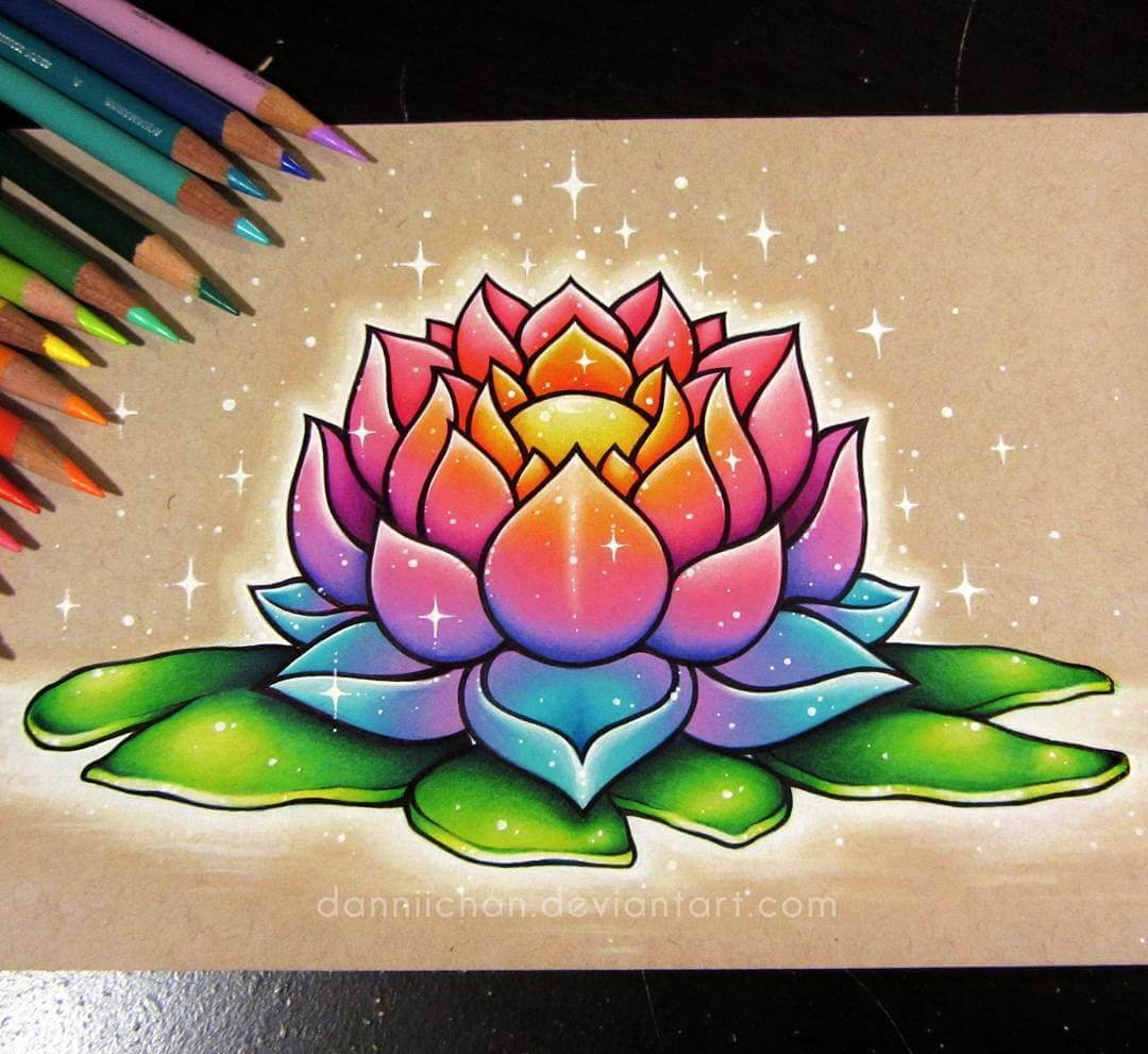 08-Sparkling-Lotus-Danielle-Washington-Brightly-Colored-Pencil-Drawings-www-designstack-co