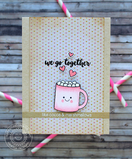 Sunny Studio Stamps: Mug Hugs Hot Chocolate Cocoa & Marshmallows card by Vanessa Menhorn.