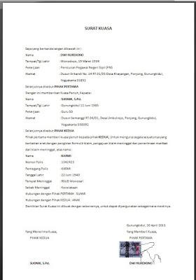 contoh surat kuasa perseorangan