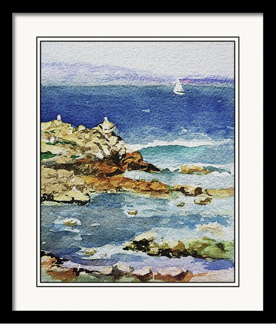 Pacific Ocean shore impressionistic artwork