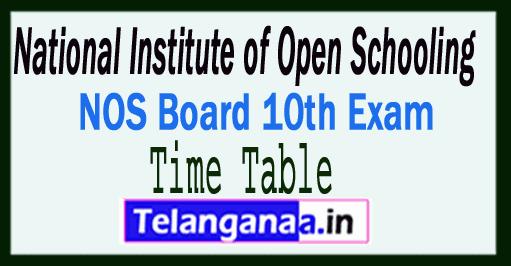 NIOS 10th Exam Time Table