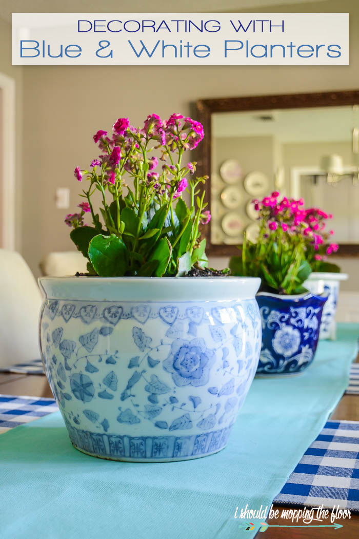 blue ceramic planter
